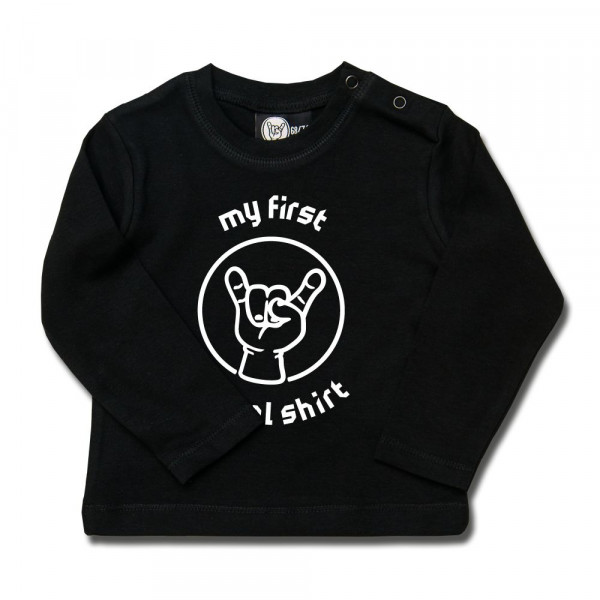 my first metal shirt (invers) Baby Longsleeve mit Aufdruck in weiß auf Metal-Kids Markenware