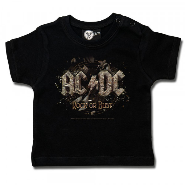 AC/DC (Rock or Bust) Baby T-Shirt mit Aufdruck in multicolor auf Metal-Kids Markenware