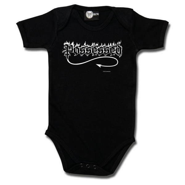 Possessed (Logo) Baby Body mit Aufdruck in weiß auf Metal-Kids Markenware