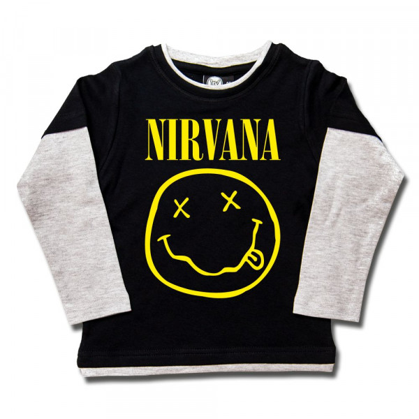 Nirvana (Smiley) Kids Skater Shirt mit Aufdruck in gelb auf Metal-Kids Markenware