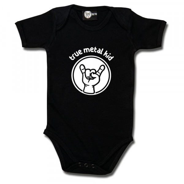 true metal kid Baby Body mit Aufdruck in weiß auf Metal-Kids Markenware