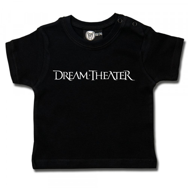 Dream Theater (Logo) Baby T-Shirt mit Aufdruck in weiß auf Metal-Kids Markenware