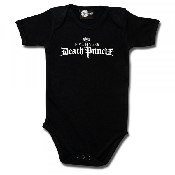 Five Finger Death Punch (Logo) Baby Body mit Aufdruck in weiß auf Metal-Kids Markenware