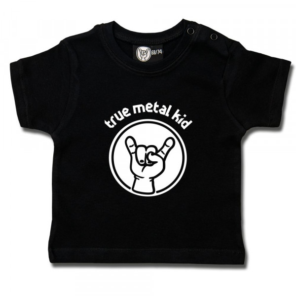true metal kid Baby T-Shirt mit Aufdruck in weiß auf Metal-Kids Markenware