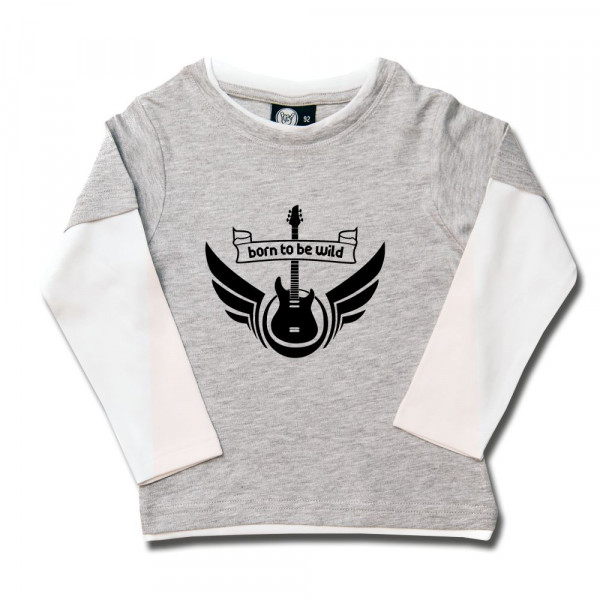 born to be wild Kids Skater Shirt mit Aufdruck in schwarz auf Metal-Kids Markenware