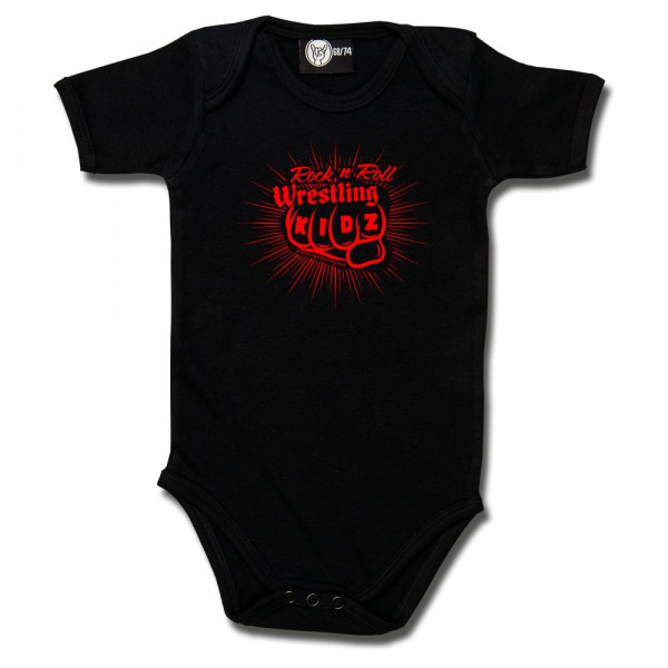 RnR Wrestling Fist Baby Body mit Aufdruck in rot auf Metal-Kids Markenware