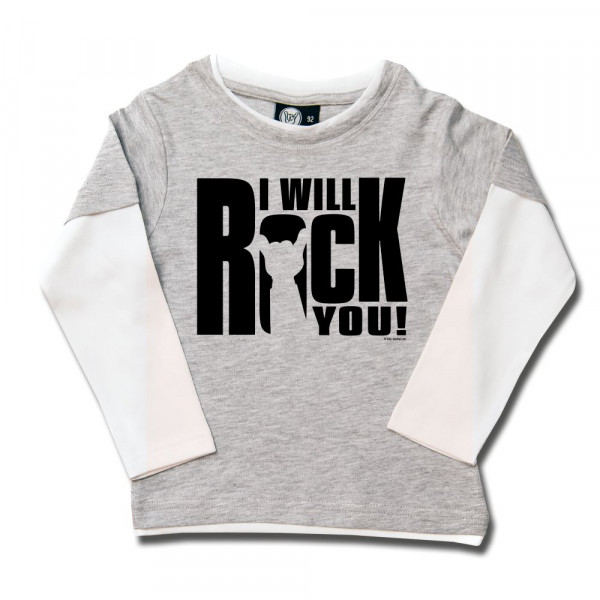 I will rock you Kids Skater Shirt mit Aufdruck in schwarz auf Metal-Kids Markenware