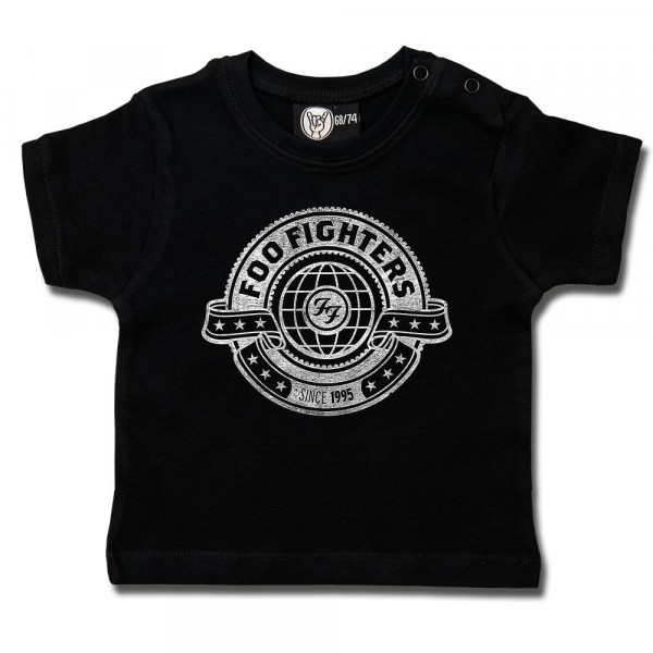 Foo Fighters (World) Baby T-Shirt mit Aufdruck in weiß auf Metal-Kids Markenware
