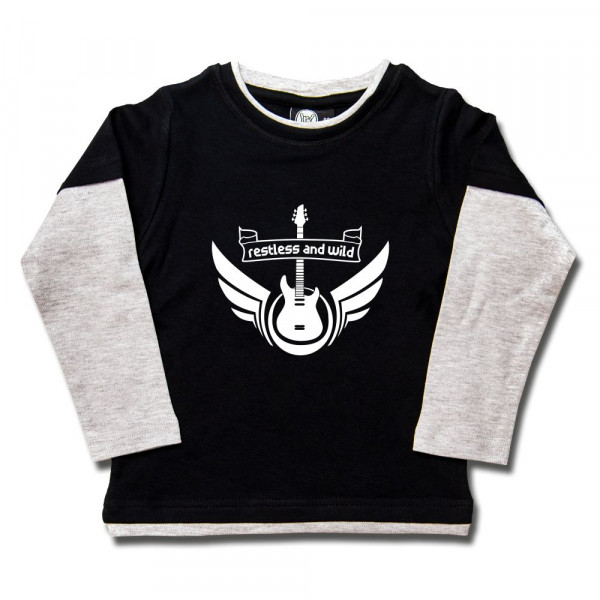 restless and wild Kids Skater Shirt mit Aufdruck in weiß auf Metal-Kids Markenware