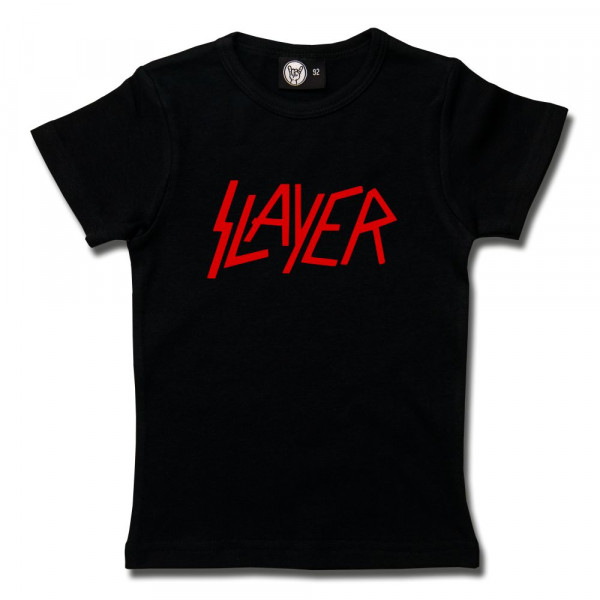 Slayer (Logo) Girly Shirt mit Aufdruck in rot auf Metal-Kids Markenware