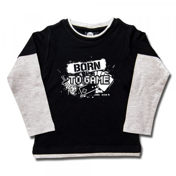 Born to Game Kids Skater Shirt mit Aufdruck in weiß auf Metal-Kids Markenware