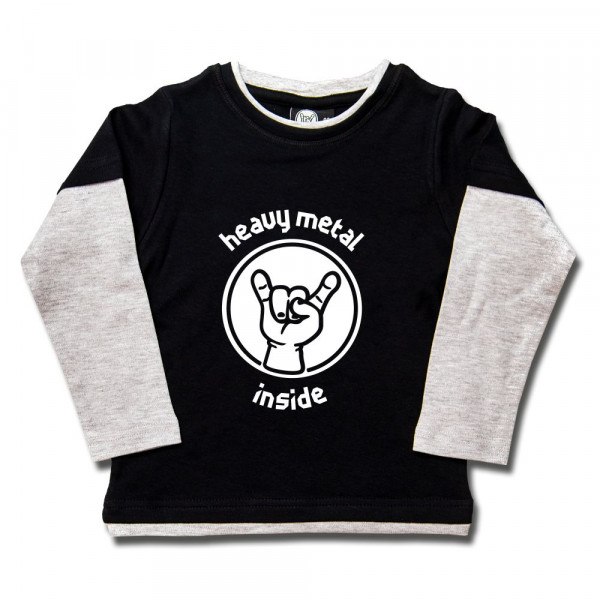 heavy metal inside Kids Skater Shirt mit Aufdruck in weiß auf Metal-Kids Markenware