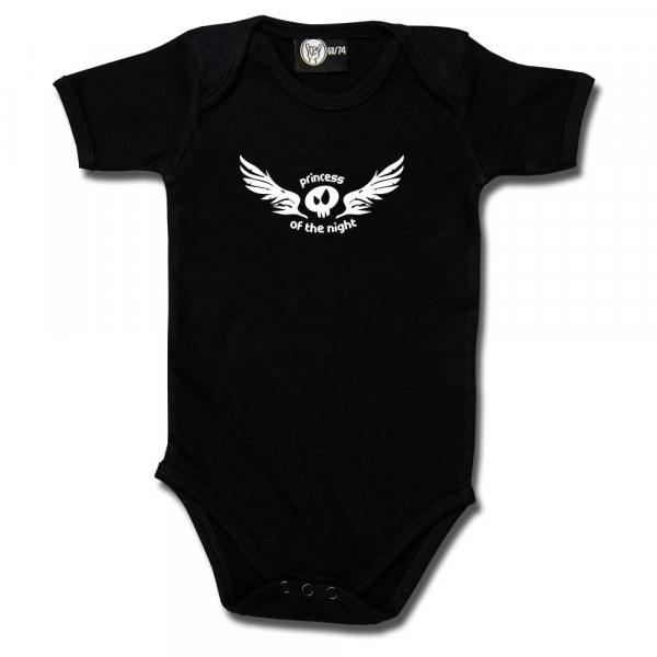 princess of the night Baby Body mit Aufdruck in weiß auf Metal-Kids Markenware