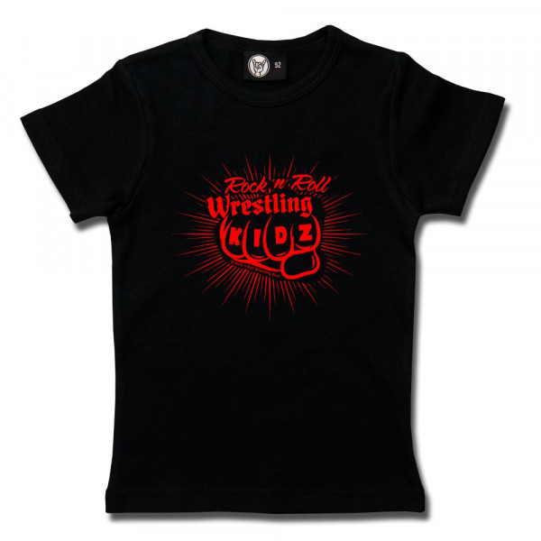 RnR Wrestling Fist Girly Shirt mit Aufdruck in rot auf Metal-Kids Markenware