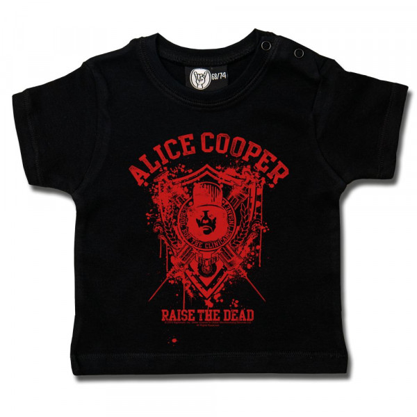 Alice Cooper (Raise the Dead) Baby T-Shirt mit Aufdruck in rot auf Metal-Kids Markenware