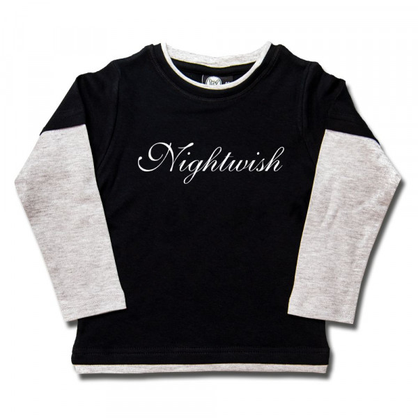 Nightwish (Logo) Kids Skater Shirt mit Aufdruck in weiß auf Metal-Kids Markenware