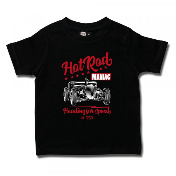 Road Rodeo (Hot Rod Maniac) Kids T-Shirt mit Aufdruck in rot/weiß auf Metal-Kids Markenware