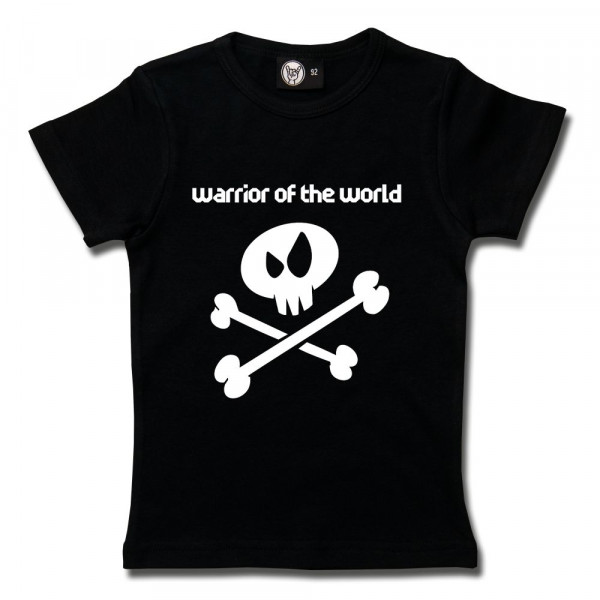 warrior of the world Girly Shirt mit Aufdruck in weiß auf Metal-Kids Markenware