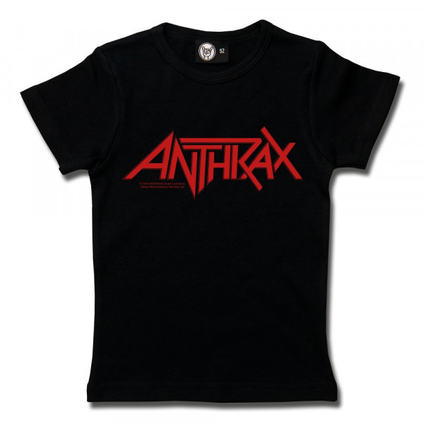 Anthrax (Logo) Girly Shirt mit Aufdruck in rot auf Metal-Kids Markenware