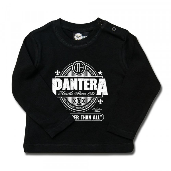 Pantera (Stronger Than All) Baby Longsleeve mit Aufdruck in weiß auf Metal-Kids Markenware