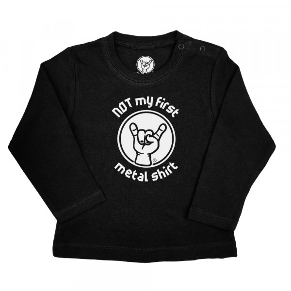 NOT my first metal shirt Baby Longsleeve mit Aufdruck in weiß auf Metal-Kids Markenware