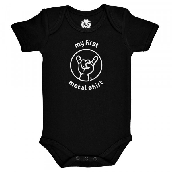 my first metal shirt (invers) Baby Body mit Aufdruck in weiß auf Metal-Kids Markenware